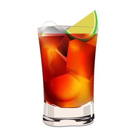 Cuba libra lemon alcohol cocktaill graphic vector