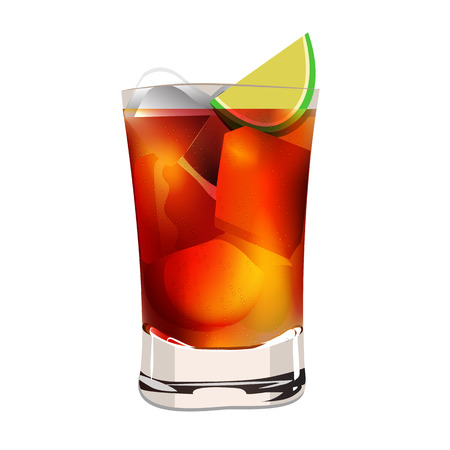cocacola: Cuba libra lemon alcohol cocktaill graphic vector