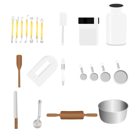 sugar spoon: Colorful collection of baking items. Vector illustration
