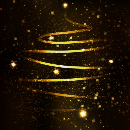 Abstract golden christmas tree on black background Vector