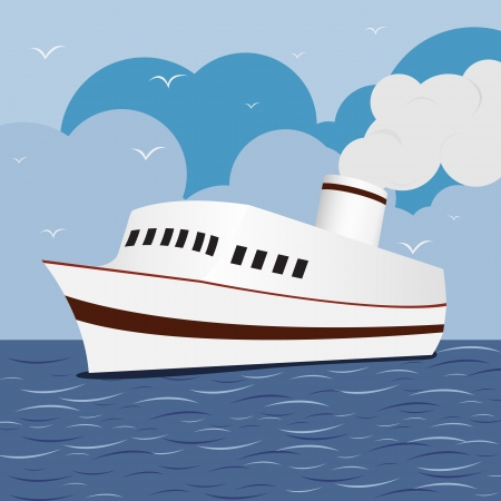 cruise cartoon: Ocean Liner Cruise Ship Boat at Sea with blue sky