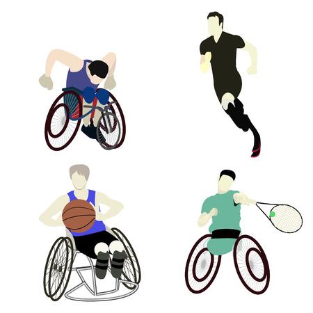 男性スポーツ グラフィック ベクトルを無効に  イラスト・ベクター素材