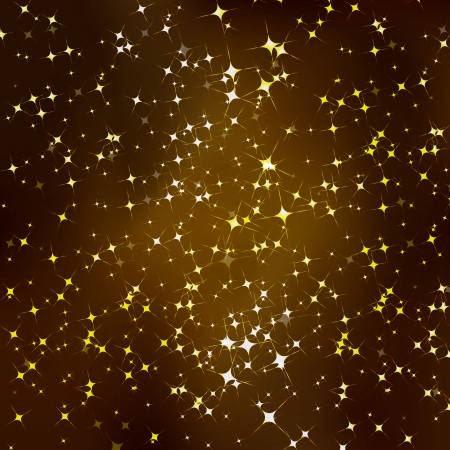 Vector glittering stars on golden glittering background  Vector