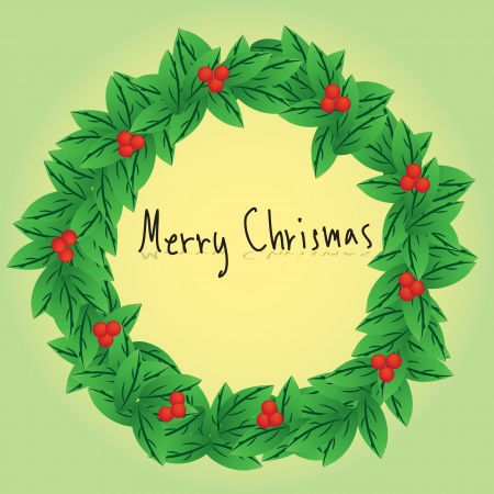 Christmas wreath card template Vector