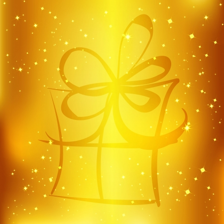 Gift box and light christmas vector background