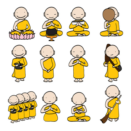 chinese buddha: illustration of Cute young monk cartoon