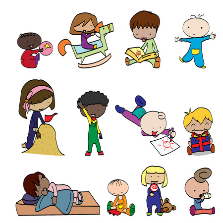 characters funny kids on a white background Illustration
