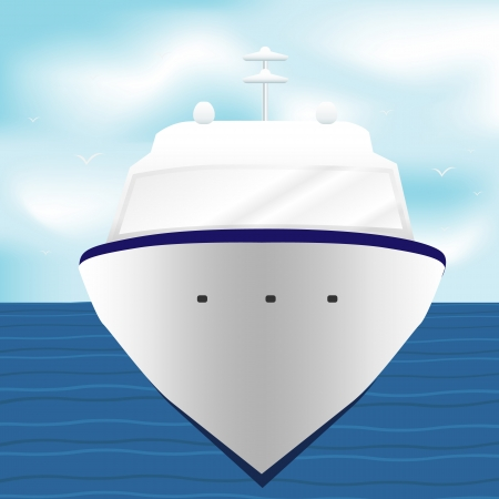 Illustration of sea cruise passenger liner.  Vector