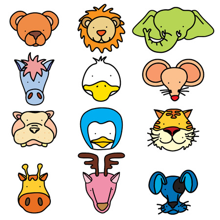 illustration of cute animal faces. Vector
