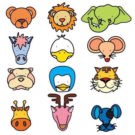 lion dog: illustration of cute animal faces.