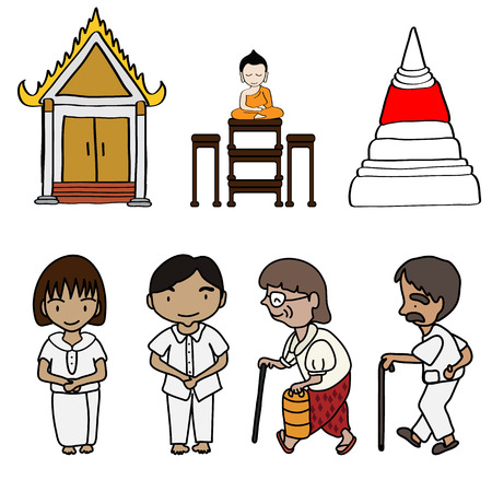 cartoon cute buddhism with white background  Illustration