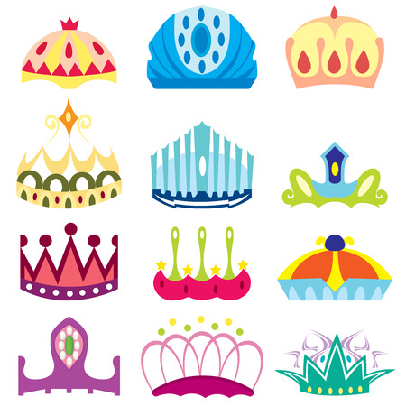 cartoon crown with gems isolated on white background