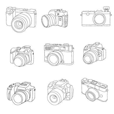 line drawings: doodle photo camera set in vector