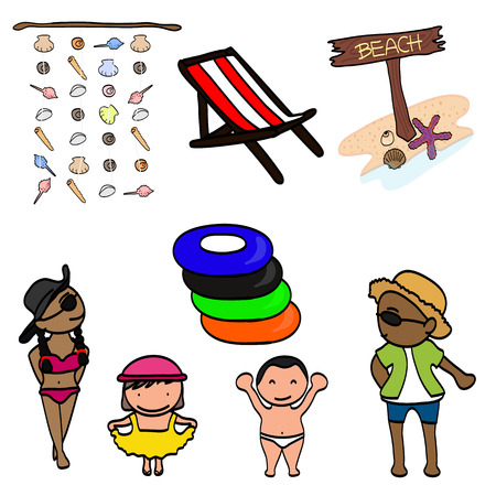 Color doodle with cute happy kids on the beach isolated on white background Ilustração