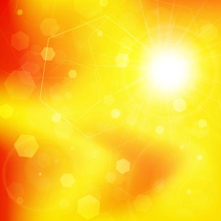 Bright sunny days sunset sky orange background  Illustration