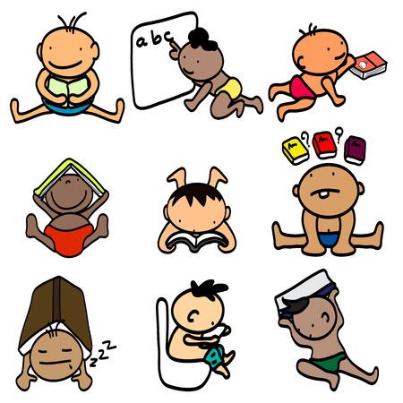 Illustration des enfants heureux se reposant tout en lisant des livres Banque d'images - 27492560