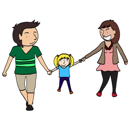 Happy family of father  mother  daughter  Illustration