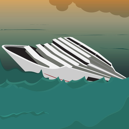 swamped: Sinking ship crisis concept with a boat