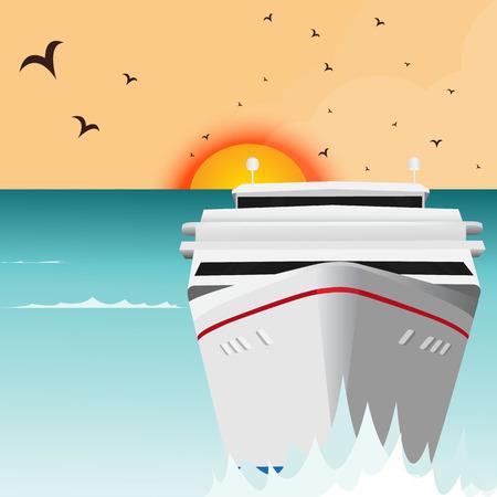 Luxury cruise ship sailing from port on sunrise Illustration