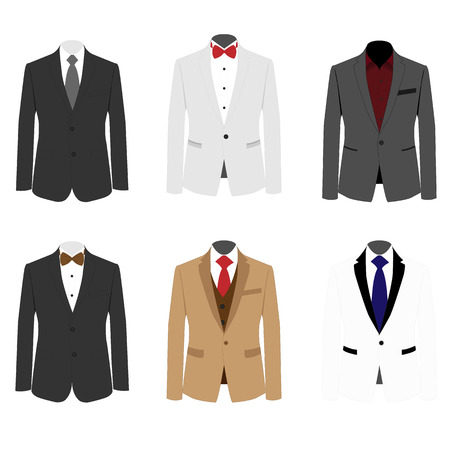 red tie: differ set suit for mens Illustration