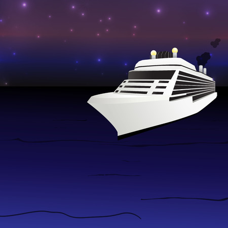 Ocean Liner Cruise Ship Boat at night