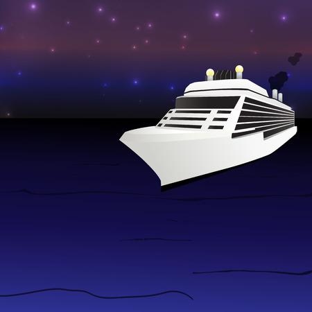 anchored: Ocean Liner Cruise Ship Boat at night