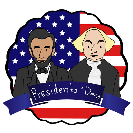 george washington: happy president background fro decoration Illustration