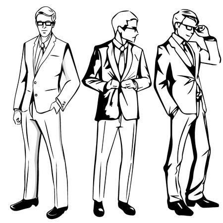 Set of businessman with black suit