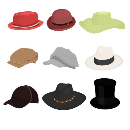 panama: Hat set of nine isolate on white background illustration vector design