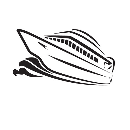 Ocean Cruise vector art isolate on white