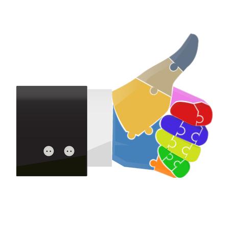 Thumb up doigt puzzle concept illustration vecteur Banque d'images - 50597332