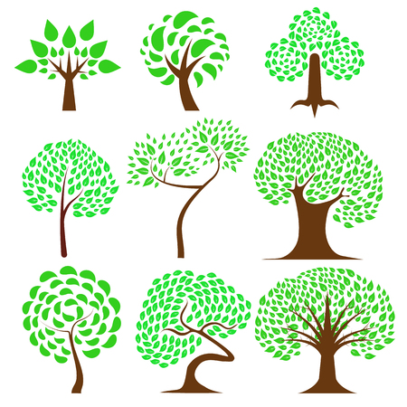 Set 9 of Tree design ,natural vector illustration