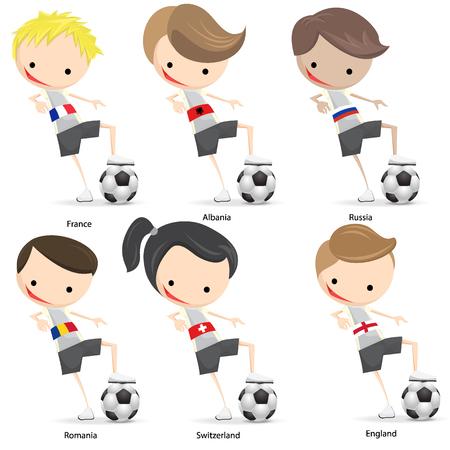 Spelers Cartoon Soccer set met een witte achtergrond Stock Illustratie