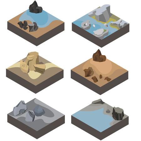 isometrische landschapsontwerp voor game Stock Illustratie