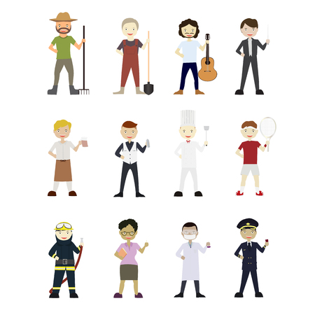 Cartoons Vector Characters Collection: Set of 12 different careers. Ilustração