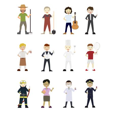 Cartoons Vector Characters Collection: Set van 12 verschillende carrières. Stock Illustratie