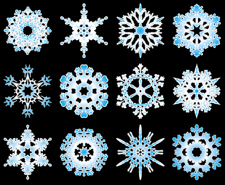 Collection of 12 vector snowflakes on black background. Ilustração