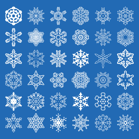 Set of 36 vector snowflakes.