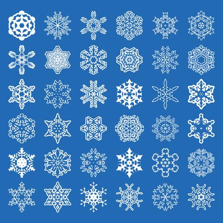 Set of 36 vector snowflakes. Vector