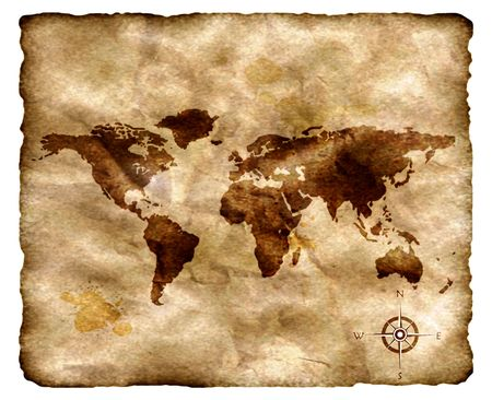 discovery: Ancient map isolated on white. Stock Photo
