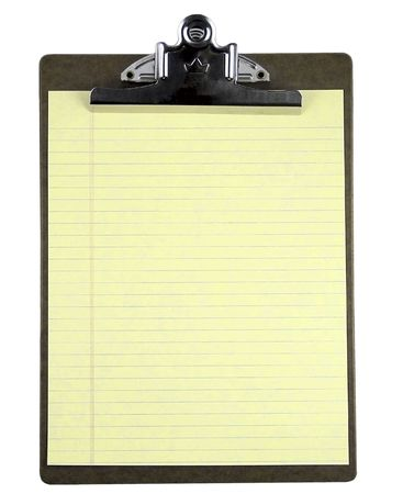 Blank clipboard isolated on white. photo
