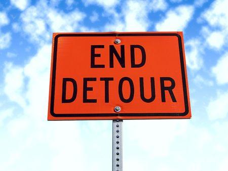 detour: End detour traffic sign. Stock Photo