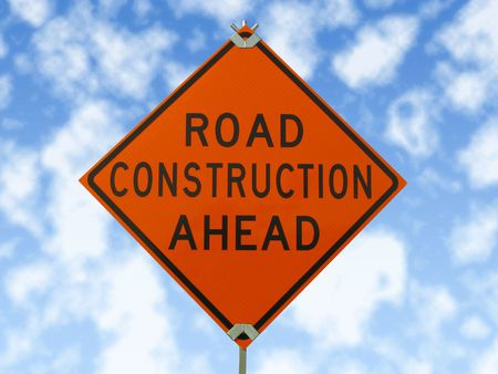 Road construction sign. photo