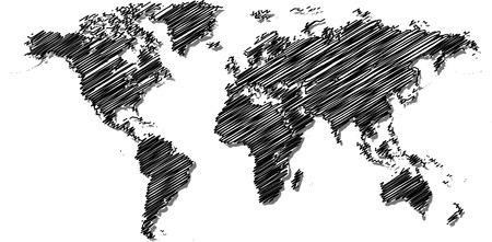Kattebelletje wereldkaart. Stock Illustratie