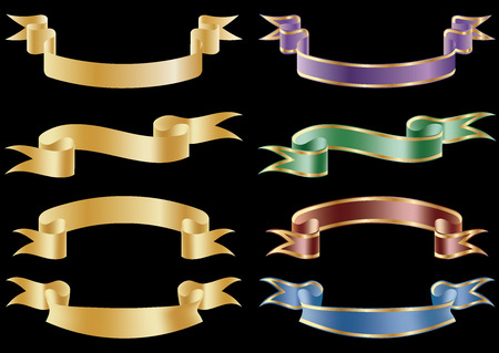 Set of 8 vector banners. Çizim
