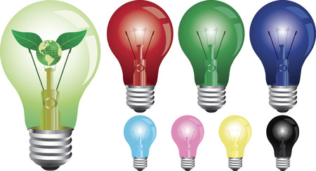 Set of 8 vector lightbulbs. Vector