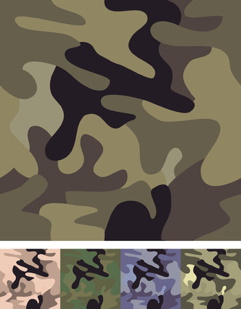 Set of 5 vector camouflage seamless patterns. Çizim