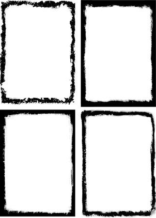 Set of 4 grunge frames. Vector