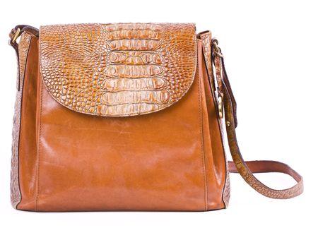 Alligator purse isolated on white. photo