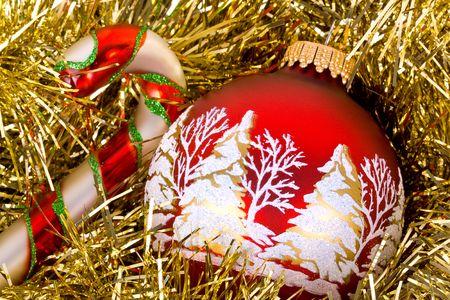 tree trimming: Christmas setup. Stock Photo